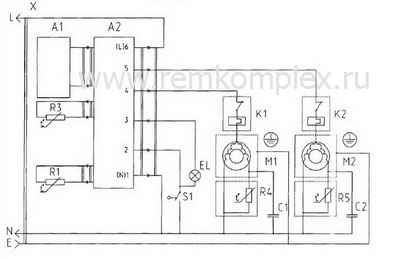 Схема двухкамерного двухкомпрессорного холодильника МХМ-1841 - МХМ1848 (без функции часов) .